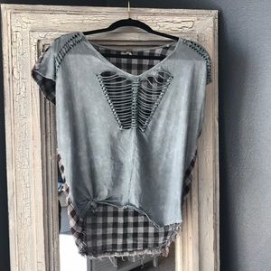 Ripped front shirt with checkered back